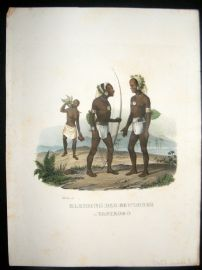 Schinz 1845 Antique Hand Col Print. Natives of Vanikoro, Pacific 7